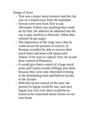 Classics Studies 2440 Lecture Notes  Siege of Tyre
