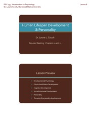 Slides for Lesson 6 - Human Lifespan Development and Personality [Compatibility Mode](1)