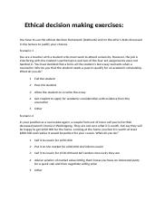 Ethical decision making excercises