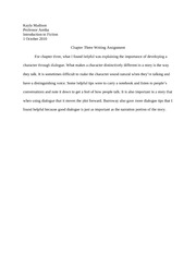 Chapter Three Writing Assignment