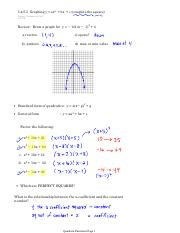 5.45.5 Graphing y = ax2 + bx + c (complete the square)