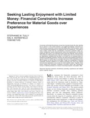 article 9a_Seeking Lasting Enjoyment with Limited Money Financial Constraints Increase Preference fo