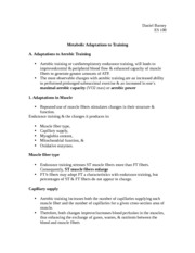 Metabolic Adaptations to Training Notes