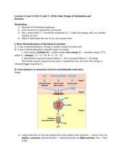 Basic design of metabolism and enzymes Notes