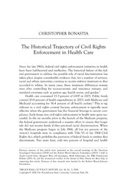 The Historical Trajectory of Civil Rights Enforcement in Health Care