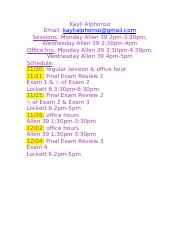 SI Final Exam Review Schedule