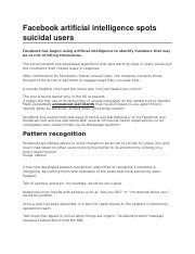 Facebook artificial intelligence spots suicidal users.docx