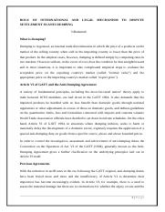 ROLE OF INTERNATIONAL AND LEGAL MECHANISM TO DISPUTE SETTLEMENT IN ANTI DUMPING.docx