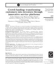 Crowd-funding- transforming customers into investors through innovative service platforms.pdf