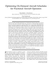 1Optimizing On-Demand Aircraft Schedules for Fractional Aircraft Operators