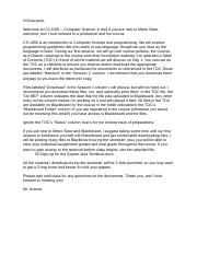 10 CS 1050 Welcome Letter