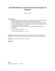 The Potentiometer and the Internal Resistance of a Battery