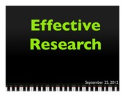 Lecture #3 - Effective Research