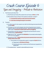 Crash Course Notes- Taxes and Smuggling: Prelude to Revolution
