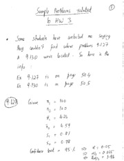 Sample problems related to HW 4 problems