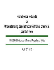 From bonds to bands - NU April2015