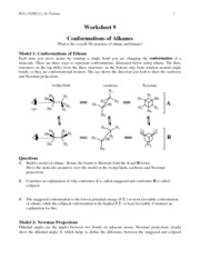 Conformations of Alkanes - WS 9
