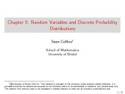 Chapter 5 Lecture on Random Variables and Discrete Probability Distributions