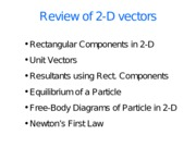 2-D Vectors, Components, Trig