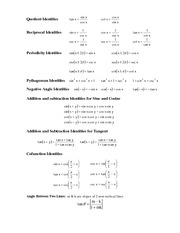 Chapter 7 to 9 formula sheet
