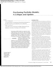 Purchasing portfolio models-a critique and update