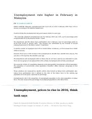 Unemployment rate higher in February in Malaysia