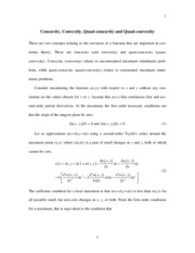 Concavity, Convexity, Quasi-concavity and Quasi-convexity Notes