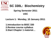 BISC 330 Spring 2011 Lecture 1