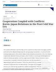 Cooperation Coupled with Conflicts_ Korea–Japan Relations in the Post-Cold War Era_ Asia-Pacific Rev
