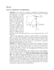 Computerized Cavendish Balance Notes