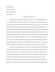 Intro to Global History: Midterm Thesis #1 Jack Whitehouse
