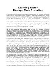 Learning Faster Through Time Distortion.doc