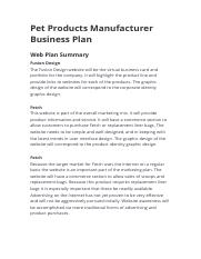 Pet Products Manufacturer Business Plan