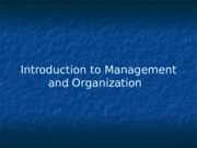 Intro to Management and Organization