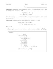 Quiz 8 Solution on Differential Equations and Linear Algebra