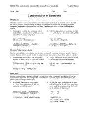 Printables Parts Per Million Problems Worksheet worksheet concentration pre ap 3 determine the mass of nacl 2 pages teacher