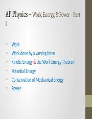 AP Physics - WorkEnergy and Power - Part I