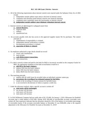 Accounting BLC Review Exam 2-Answers 2013