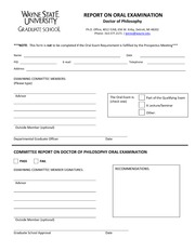 Report on Oral Examination Form