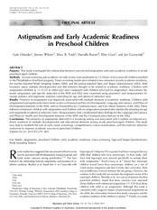 (6) Astigmatism and Early Academic Readiness in Preschool Children