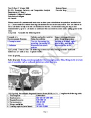 AnswersTest 3 part 2 BA 315 Winter March 6