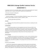 NEW 3  BSBCUS501Manage Quality Customer Service ASSESSMENT 3