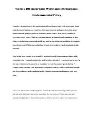POL 310 Week 5 DQ 1 Hazardous Waste and International Environmental Policy.doc