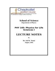 physics for life notes