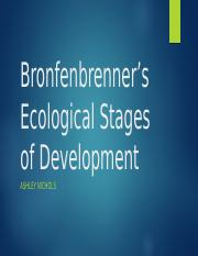 Bronfenbrenner's Ecological Stages of Development