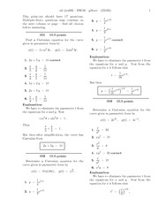 Homework on parametric equations with anwers