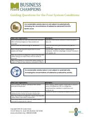 Guiding Questions for the Four System Conditions