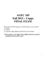 Final Exam Fall 2013 ANSWER KEY