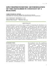 FORMAL REPORT_EXPERIMENT 5_SPECTROPHOTOMETRIC DETERMINATION OF THE EQUILIBRIUM CONSTANT OF A REACTIO