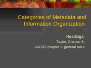 Categories of Metadata and Information Organization